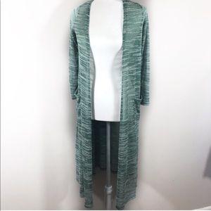 Lularoe green long Sarah duster cardigan XS